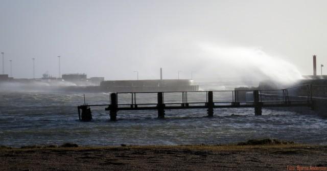 """Stormen """" Egon """" ramte Esbjerg havn"""